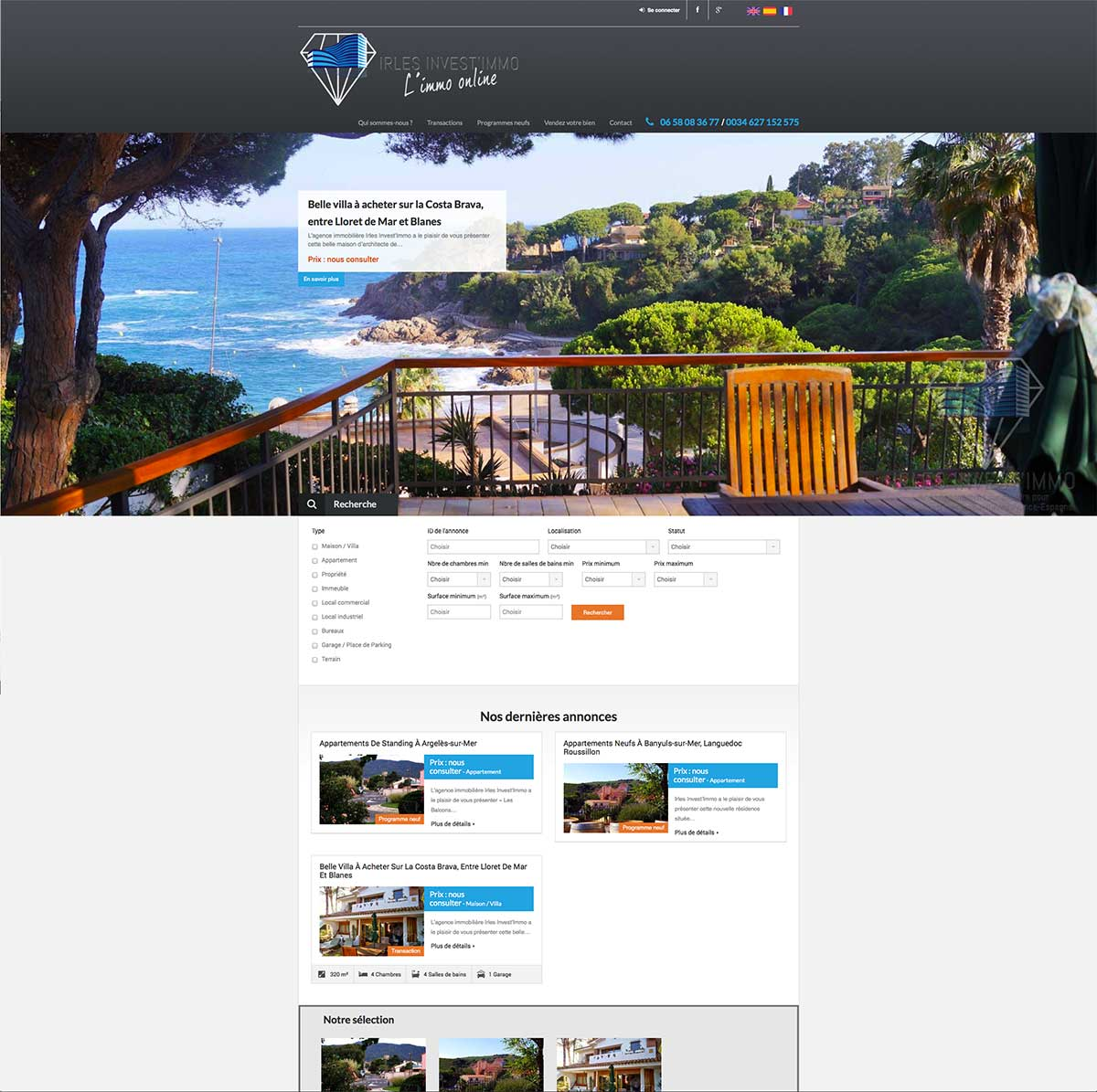 Création site web Perpignan Irles Invest'Immo