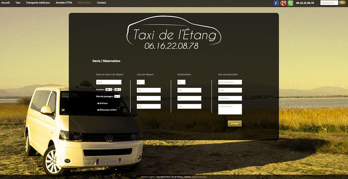 Développement du site web de Taxi de l'Étang par Agence point com agence communication Perpignan