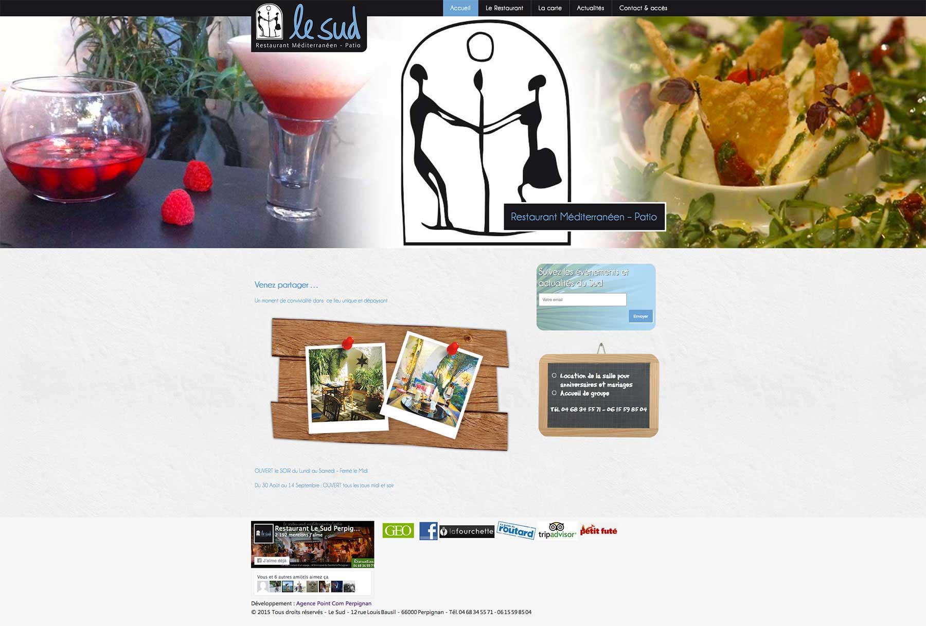 Agence Point Com - Création de site internet sur Perpignan : Restaurant Le Sud