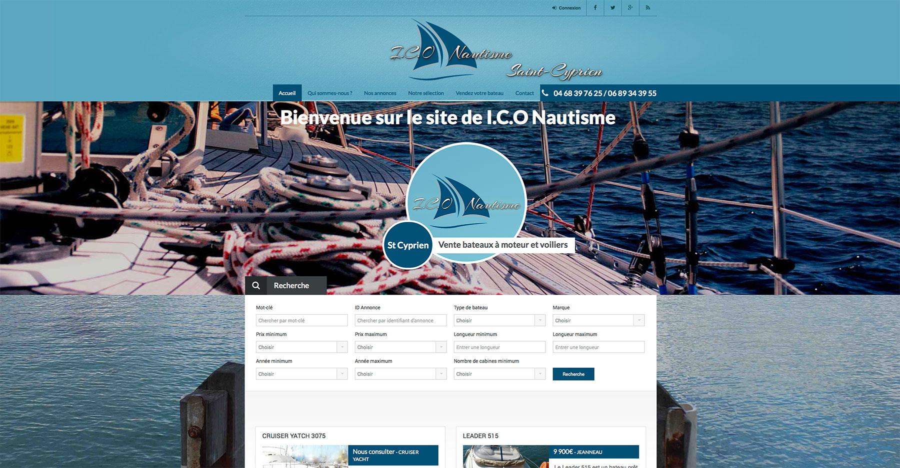 Création site internet sur Perpignan : ICO Nautisme