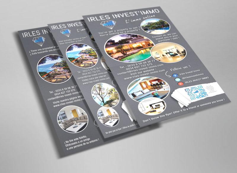Création et impression flyers trilingues Irles Invest'Immo