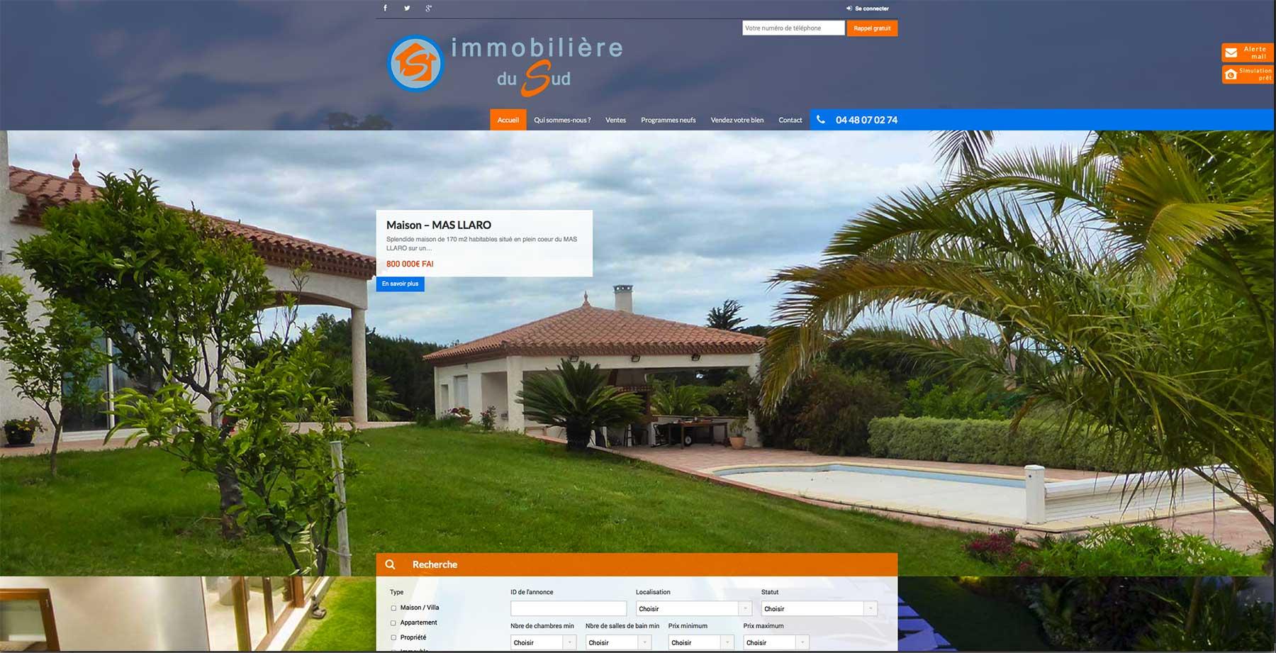 Création site internet Agence Immobilière du Sud à Cabestany