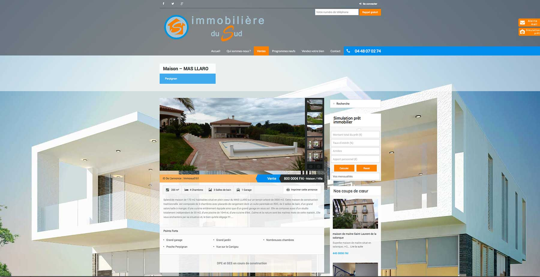 Cr ation site internet agence immobili re du sud cabestany for Agence immobiliere site