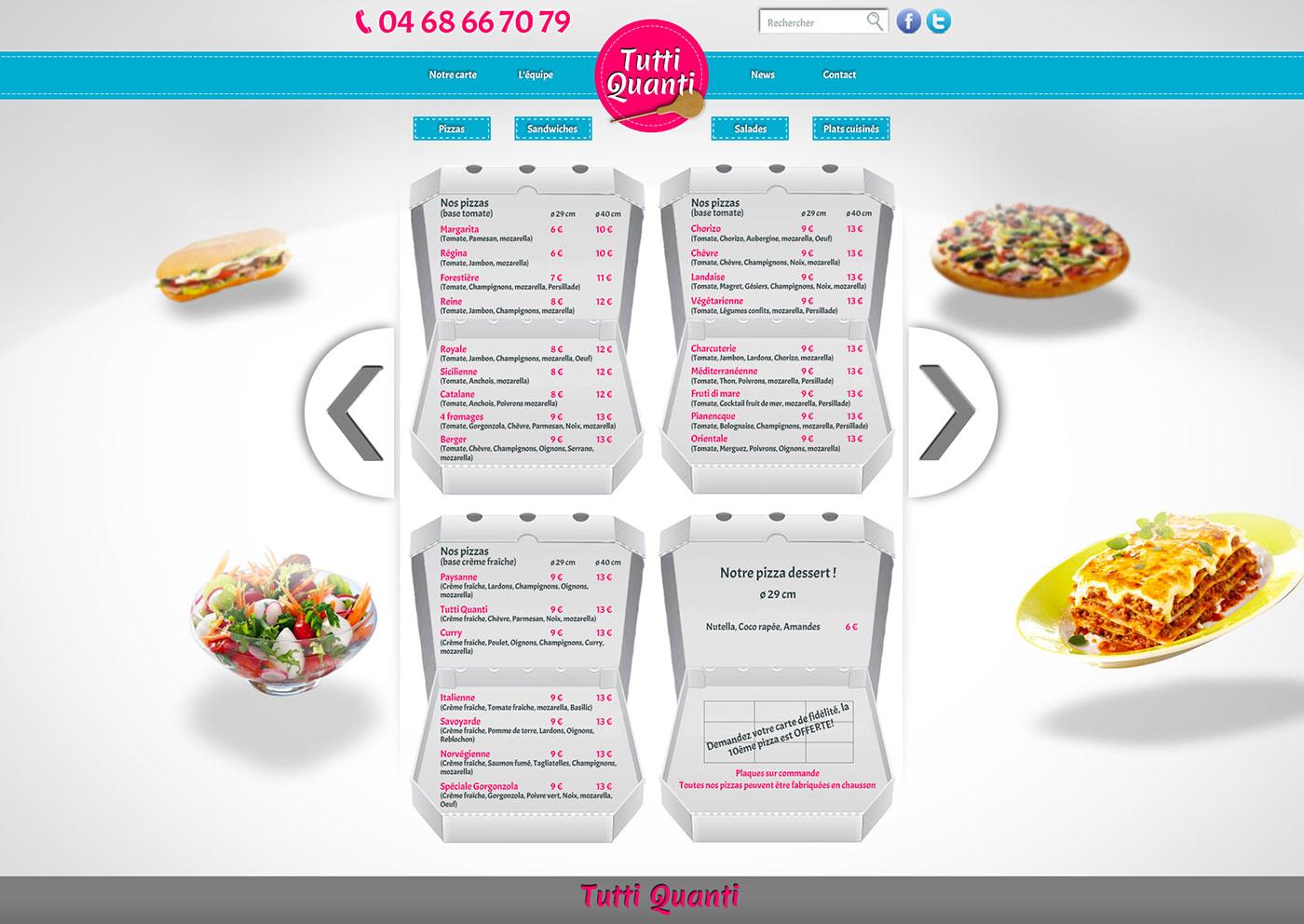 Webdesign et développement du site de la pizzeria Tutti Quanti